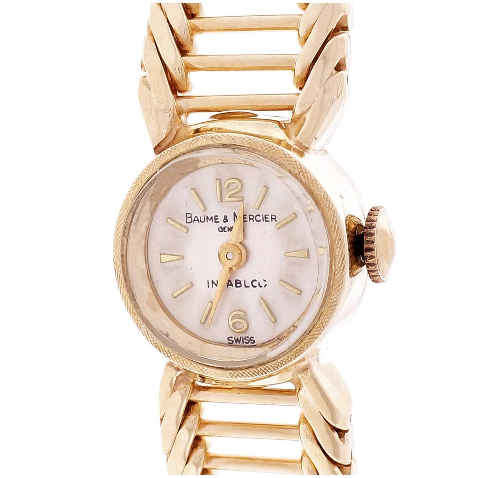 Baume & Mercier Ladies Yellow Gold Manual Wind Wristwatch