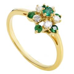 Kutchinsky Emerald Diamond Gold Cluster Ring