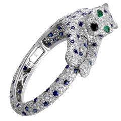Cartier Onyx Sapphire Diamond Platinum Panthere Bangle Bracelet