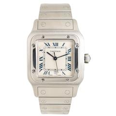 Cartier Stainless Steel Santos Large Quartz Wristwatch
