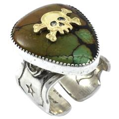 "Kit Carson Sterling Silver Gold Skull Guitar Pick ""Cruise Easy"" Ring"