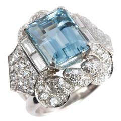 1960s Aquamarine Diamond Platinum Ring