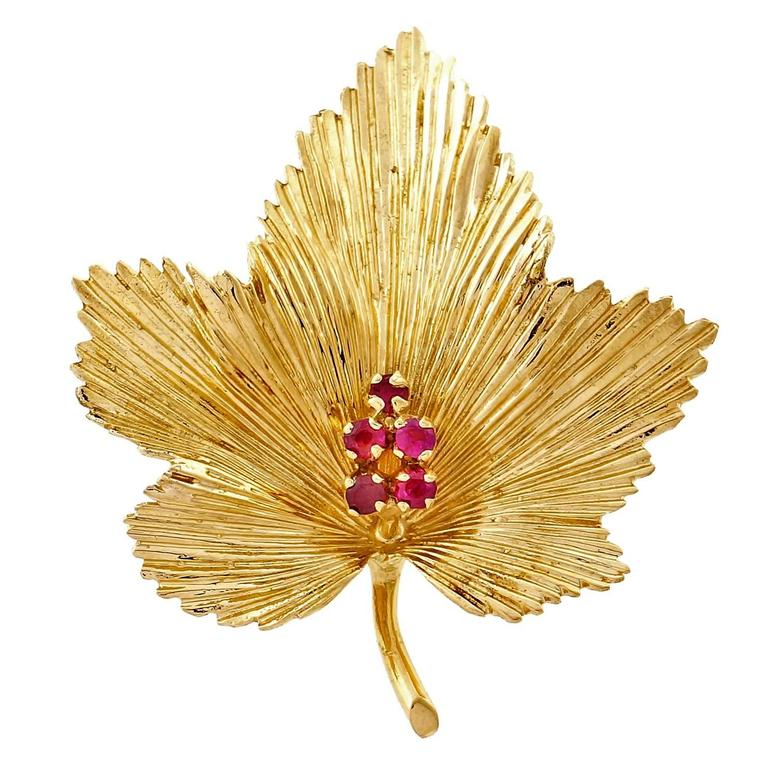 Tiffany & Co. Ruby Gold Leaf Pin  1