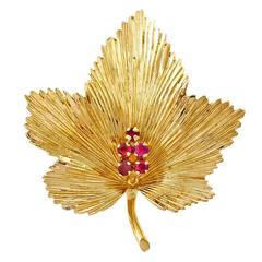 Tiffany & Co. Ruby Gold Leaf Pin