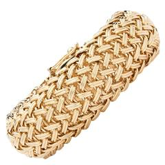 Woven Gold Wide Bangle Bracelet