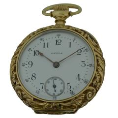 Omega Ladies Yellow Gold Repousse Pendant Watch