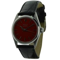 Rolex Stainless Steel Speedking Red Dial Oyster Watch, circa 1950s