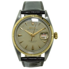Rolex Yellow Gold Stainless Steel Early Datejust Ovatone Watch Dated 1953