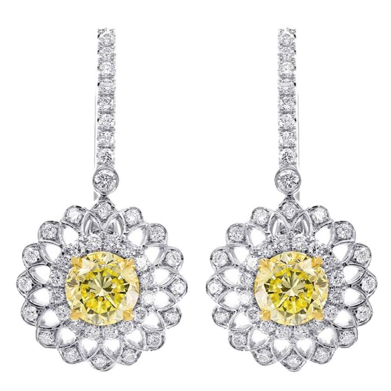 yellow diamond halo earrings - photo #5