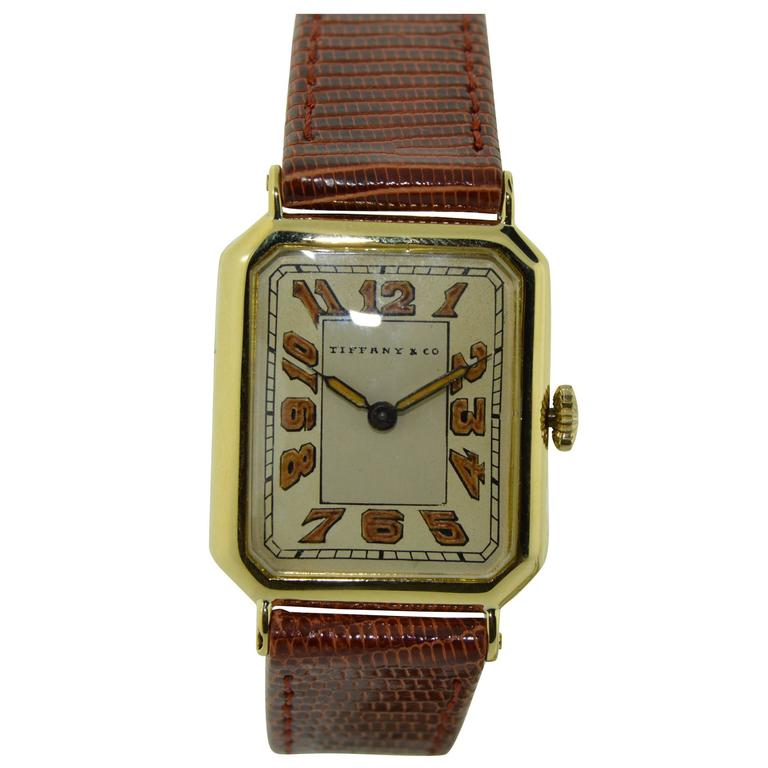 Tiffany & Co. Longines Yellow Gold Wristwatch For Sale