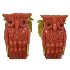 Zannetti Fantastic Coral Gold Owl Cufflinks