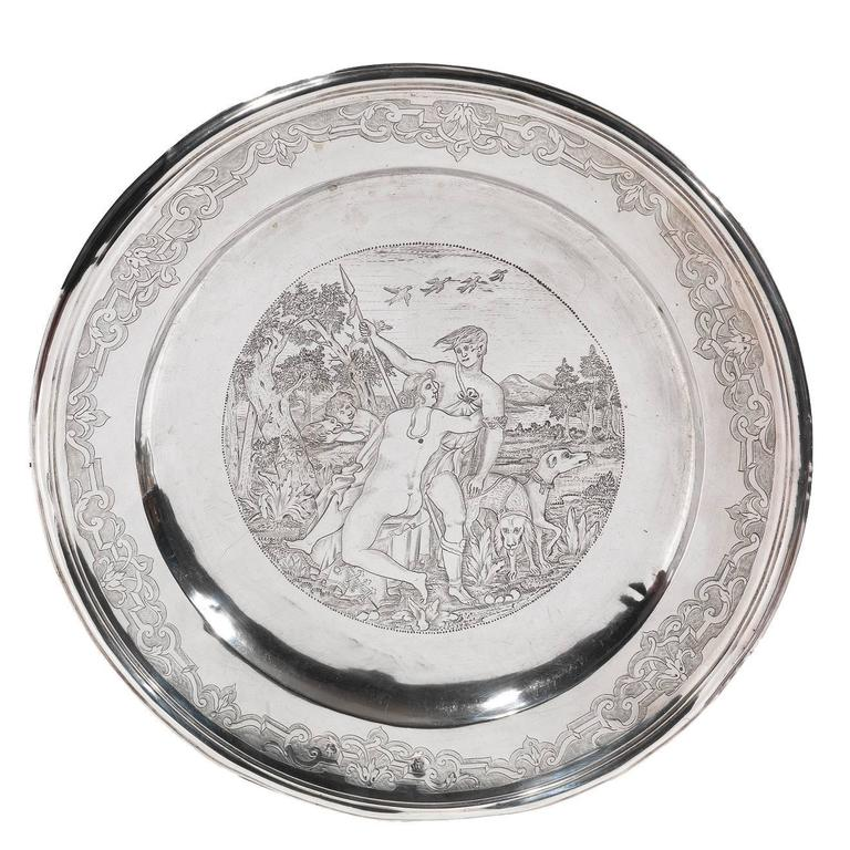 18th Century German Silver Round Dish 1