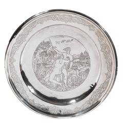 18th Century German Silver Round Dish