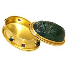 Colleen B. Rosenblat Tourmaline Garnet Gold Scarab and Box