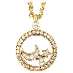 Chopard Happy Diamonds Gold Moon and Stars Pendant Necklace