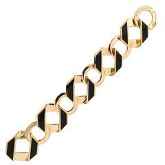 Black Enamel Gold Fold over Large Reversible Link Bracelet