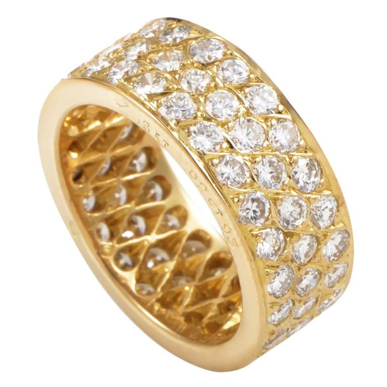 Van Cleef & Arpels Diamond Pave Gold Eternity Band Ring For Sale