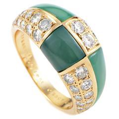 Van Cleef & Arpels Tiled Chrysoprase Diamond Gold Ring