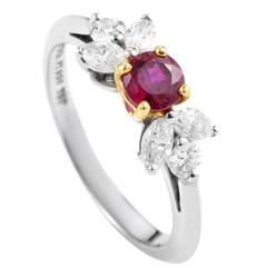 Tiffany & Co. Ruby Diamond Gold Platinum Ring