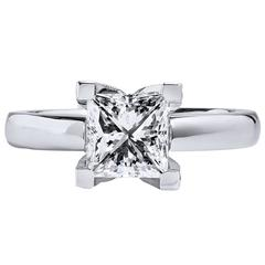 Princess Cut 1.70 Carat Diamond Platinum Engagement Ring