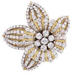 1950s Boucheron Diamond Gold Platinum Flower Brooch