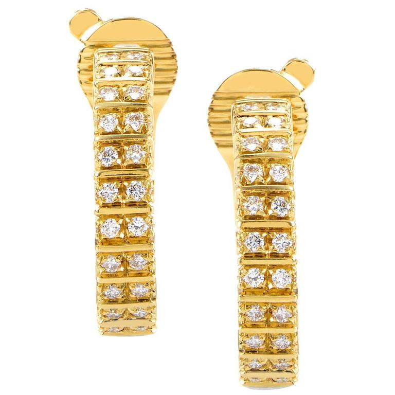Boucheron Diamond Gold Hoop Earrings