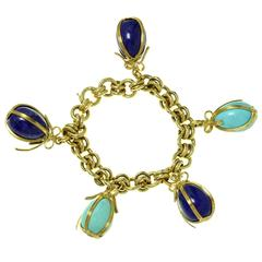 Tiffany & Co. Schlumberger Turquoise Lapis Lazuli Egg Charms Bracelet