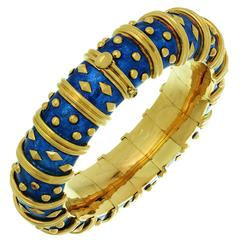 Tiffany & Co. Schlumberger Dot Losange Blue Enamel Gold Bracelet