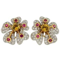 Tiffany & Co. Anemone Flower Pink Yellow Sapphire Diamond Platinum Earrings
