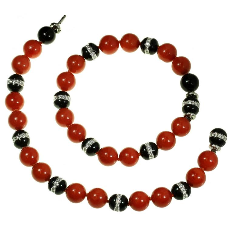 7b8691ae5 Tiffany & Co. Natural Oxblood Coral Onyx Diamond Bead Bracelet Pair or  Necklace For Sale