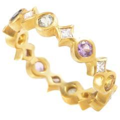 Cathy Waterman Multi-Sapphire Diamond Gold Band Ring