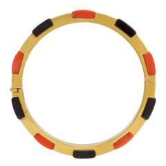 1960s Cartier Onyx Coral Gold Bangle Bracelet