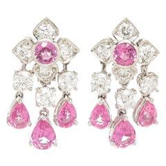 Graff Pink sapphire Petals collection Diamond Platinum Earrings