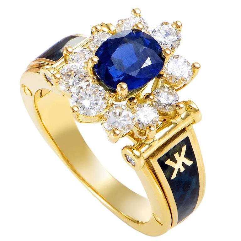 Korloff Enamel Sapphire Diamond Gold Ring