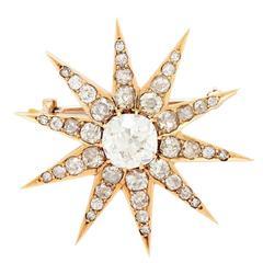 Victorian Grand Period Old Mine Cut Diamond Gold Star Brooch