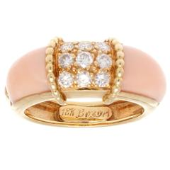 French Angel Skin Coral Diamond Gold Ring