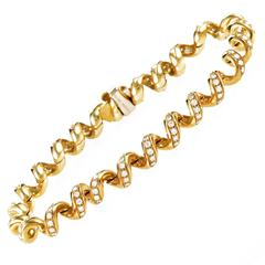 Boucheron Diamond Gold Spiral Bracelet