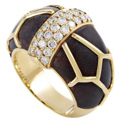 Boucheron Diamond Wood Gold Band Ring