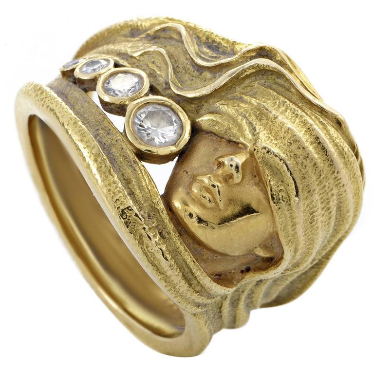 Carrera y Carrera Diamond Gold Woman Band Ring 1