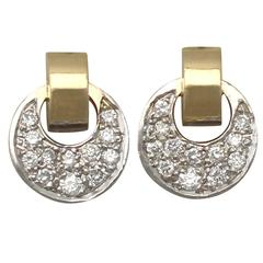 0.36Ct Diamond, 18k Yellow Gold and 18k White Gold Earrings - Vintage German