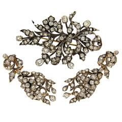 1900s Old Cut Diamond Silver Gold Set Brooch and Earrings