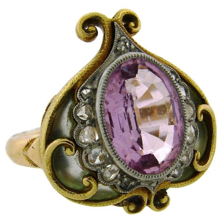 1910s Art Nouveau Plique-a-Jour Enamel Pink Sapphire Diamond Gold Ring