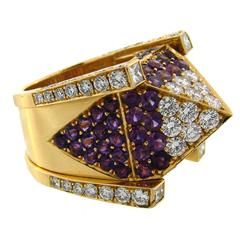 1990s Hornemann Amethyst Diamond Gold Pyramid Ring