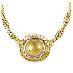 Chaumet Diamond Hammered Gold Pendant Necklace