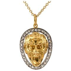 Art Nouveau Gold Diamond Platinum Mask Face Pendant