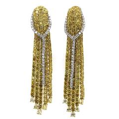 Modern Yellow and White Diamond Two Color Gold Drop Earrings