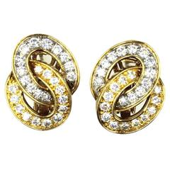 Verger Freres Diamond Two-Tone 18 Karat Gold Interlocking Hoop Earrings