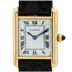 Cartier Ladies Yellow Gold Tank Louis Manual Wind Wristwatch