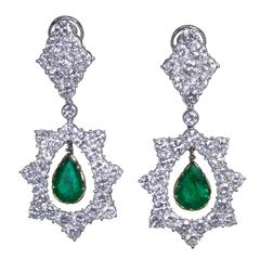 Buccellati Emerald Diamond Two Color Gold Pendant Earclips