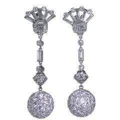 1950s Diamond Platinum Pendant Earrings